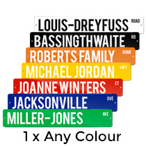 1 x Metal Street Sign 10x52cm (Any Colour) incl Delivery